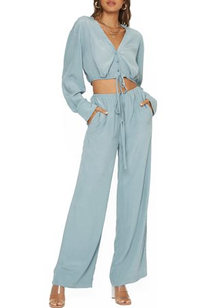 4SI3NNA Women's Irene Tie Waist Wide Leg Pants