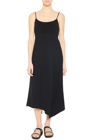 THEORY Women's Mixed Media Asymmetric Midi Dress
