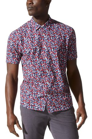 Good Man Brand Men's Flex Pro Slim Fit Print Short Sleeve Button-Up Shirt