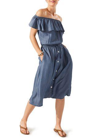 Tommy Bahama Women's Chambray Off The Shoulder Midi Dress