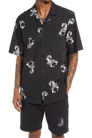 Blood Brother Men's Wonderland 1044 Scorpion Short Sleeve Button-Up Camp Shirt