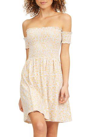 Billabong Women's Keep It Sweet Smocked Off The Shoulder Dress