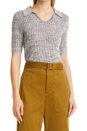 PROENZA SCHOULER WHITE LABEL Women's Short Sleeve Silk & Cotton Blend Polo Sweater