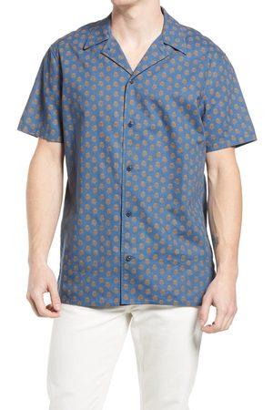 Treasure & Bond Men's Trim Fit Floral Short Sleeve Button-Up Camp Shirt