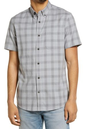 Treasure & Bond Men's Madras Short Sleeve Cotton Blend Button-Up Shirt