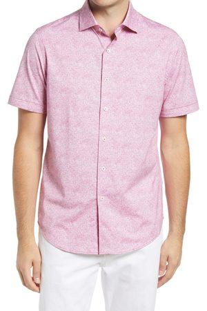 Bugatchi Men's Ooohcotton Tech Solid Knit Short Sleeve Button-Up Shirt