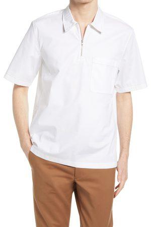 CLUB MONACO Men's Popover Short Sleeve Quarter Zip Shirt