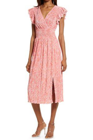 Chelsea Women's Flutter Sleeve Plisse Midi Dress