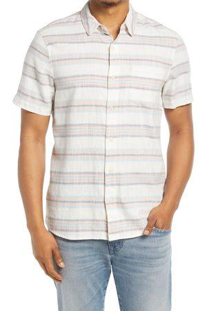 Marine Men's Stripe Selvedge Short Sleeve Button-Up Shirt