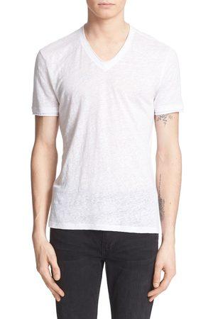 John Varvatos Men's Linen Slim Fit V-Neck T-Shirt