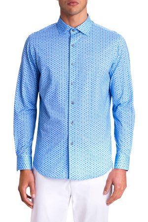 Bugatchi Men's Ooohcotton Tech Boxes Knit Button-Up Shirt