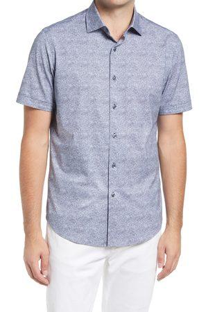 Bugatchi Men Short sleeves - Men's Ooohcotton Tech Solid Knit Short Sleeve Button-Up Shirt