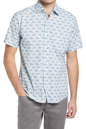 Peter Millar Men's Tiger Print Short Sleeve Stretch Button-Up Shirt