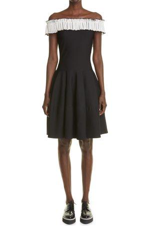 Alexander McQueen Women's Ruffle Off The Shoulder Fit & Flare Sweater Dress
