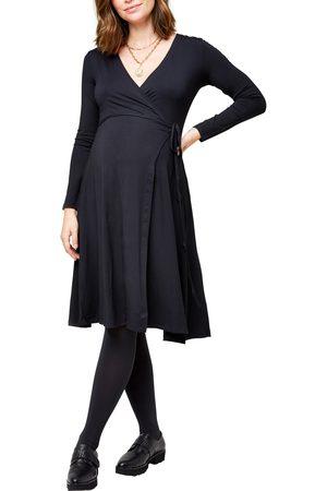 Nom Maternity Women's Tessa Long Sleeve Jersey Maternity/nursing Wrap Dress