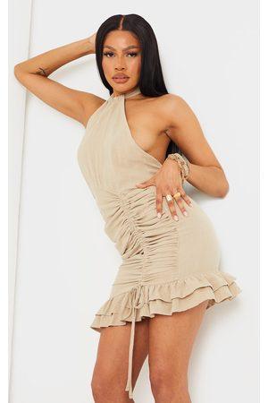 PRETTYLITTLETHING Women Bodycon Dresses - Stone Linen Look Halterneck Ruched Skirt Bodycon Dress