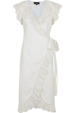 De La Vali Women Dresses - Cadaques ruffle-trimmed cotton wrap dress