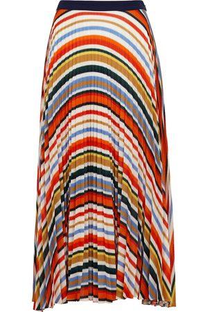 Victoria Beckham Women Midi Skirts - Striped pleated fine-knit midi skirt