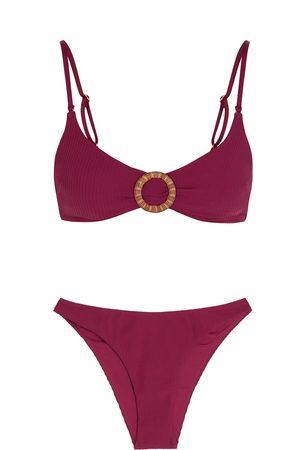 ZIMMERMANN Mae burgundy ribbed bikini