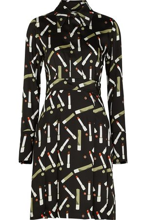 Victoria Beckham Printed satin shirt dress
