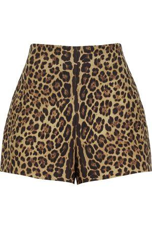 VALENTINO Leopard-print wool-blend shorts