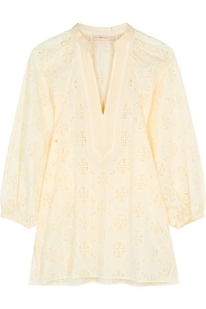 Tory Burch Ivory embroidered cotton tunic