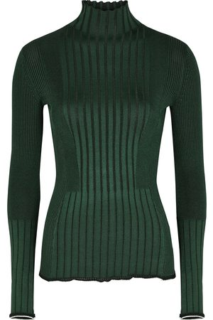 Victoria Beckham Women Turtlenecks - Dark ribbed-knit jumper
