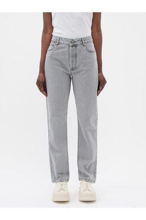 Raey Track Organic-cotton High-rise Straight-leg Jeans - Womens - Light Grey