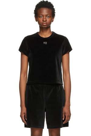 Alexander Wang Black Velour Hotfix Logo Baby T-Shirt
