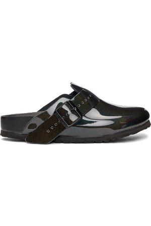Rick Owens Men Sandals - Black Birkenstock Edition Patent Iridescent Boston Sandals