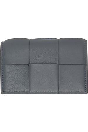 Bottega Veneta Women Wallets - Grey Intrecciato Fold Card Holder