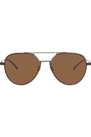 Bottega Veneta Men Aviators - Brown Metal Aviator Sunglasses