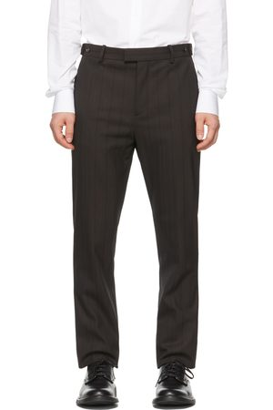 Bottega Veneta Men Pants - Brown Herringbone Stripe Trousers