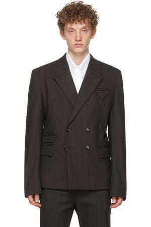 Bottega Veneta Men Blazers - Brown Herringbone Stripe Blazer