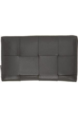 Bottega Veneta Men Wallets - Grey Intrecciato Zip Around Wallet