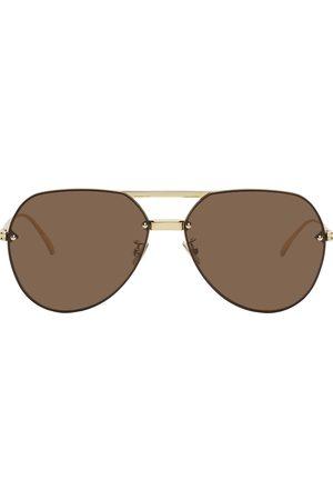 Bottega Veneta Men Aviators - Gold & Brown Aviator Sunglasses