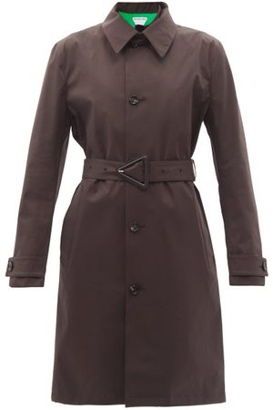 Bottega Veneta Women Trench Coats - Single-breasted Water-repellent Canvas Trench Coat - Womens - Dark