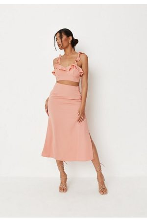 Missguided Peach Co Ord Button Side Midi Skirt