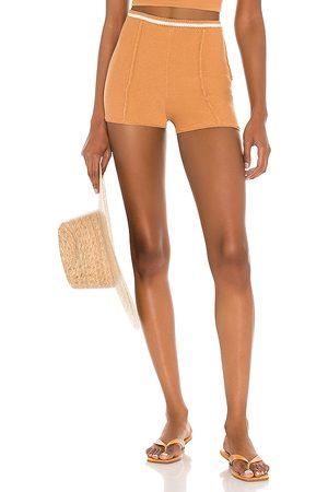 Camila Coelho Claudine Crochet Shorts in Tan.