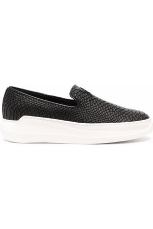 Giuseppe Zanotti Men Flat Shoes - Crocodile-effect slip-on sneakers