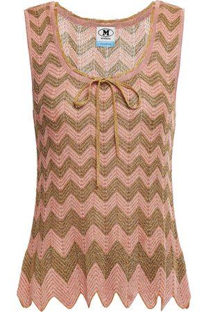 M Missoni Woman Bow-detailed Scalloped Metallic Crochet-knit Tank Antique Rose Size 38