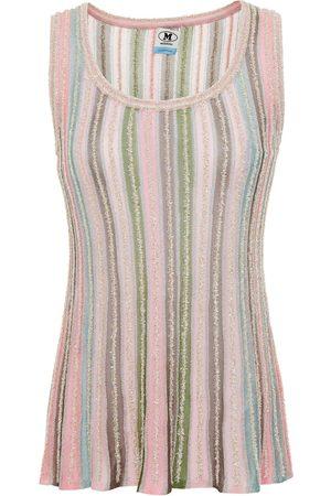 M MISSONI Woman Metallic Striped Crochet-knit Tank Baby Size 38