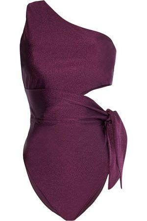 ZIMMERMANN Woman Fiesta One-shoulder Knotted Cutout Swimsuit Plum Size 0