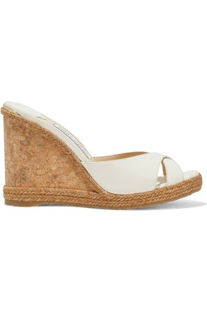 Jimmy Choo Women Heeled Sandals - Woman Almer 105 Leather Wedge Mules Off- Size 39