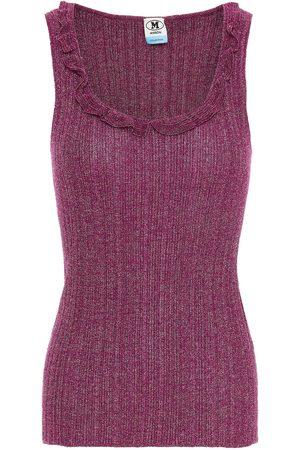 M Missoni Women Tank Tops - Woman Ruffle-trimmed Metallic Crochet-knit Tank Plum Size 38
