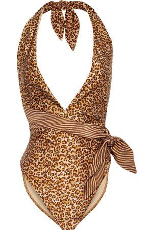 ZIMMERMANN Woman Empire Knotted Leopard-print Halterneck Swimsuit Animal Print Size 0