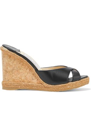 Jimmy Choo Women Heeled Sandals - Woman Almer 105 Leather Wedge Mules Size 37.5