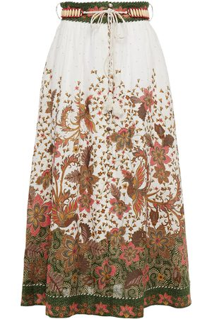 ZIMMERMANN Women Printed Skirts - Woman Empire Belted Floral-print Cotton-gauze Midi Skirt Off- Size 0