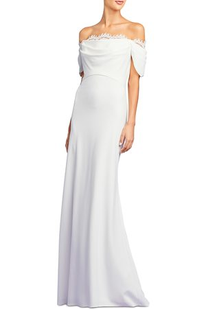 Tadashi Shoji Crepe Off-the-Shoulder Gown
