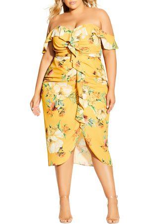 City Chic Plus Size Women's Golden Flutter Off The Shoulder Midi Dress